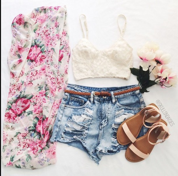 cardigan floral kimono shirt pink white style coat shirt shoes floral kimono girly sweet light green pastel rosy top shorts where to get this outfit! white crop tops outfit denim shorts flat sandals