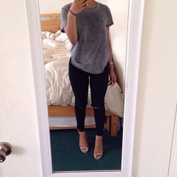 jeans casual shoes ripped jeans high heels