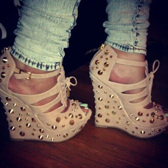 spikes shoes wedges beige gold high heels