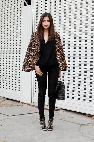 fake leather jacket blouse jeans bag belt shoes jewels