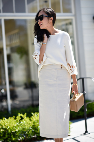 top tumblr white top skirt midi skirt white skirt bag office outfits work outfits