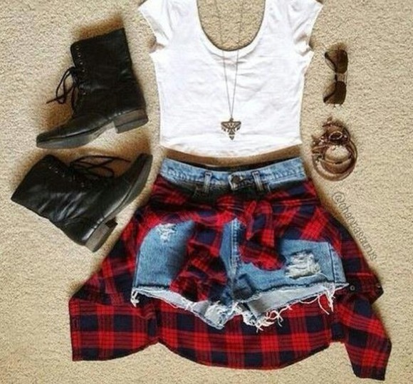red sweater shoes blouse white top jeans hot pants