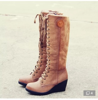shoes boots tan laceuup wedges