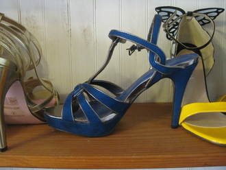 shoes blue stilettos strap stilettos sandals blue sandals high heels blue hight heels blue shoes blue high heels strappy strappy heel strappy heels pumps medium heels blue heels
