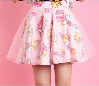 pink dress cupcake cute dress cartoon food kawaii ulzzang pink girly girly outfits tumblr ice cream skirt lovely mesh strawberry