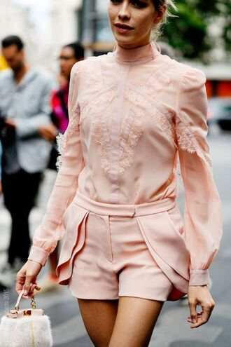 blouse pink pink blouse pastel pastel pink elena perminova frilly ruffle bag long sleeves shorts classic model fashion outfit paris fashion week 2016 streetstyle