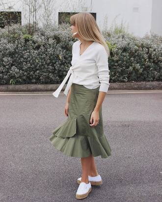 skirt ruffle skirt tumblr midi skirt green skirt ruffle sneakers white sneakers top white top wrap top shoes