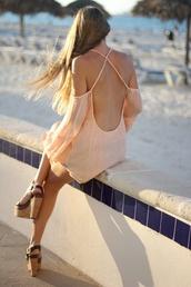blouse,coral,open back,backless,crossed back,pastel,tunic,sheer,sheer shirt,sheer blouse,off the shoulder,open shoulder,open shoulders,flowy,flowy top,dress,peach dress,open back dresses,peach,orange,light orange,beach dress