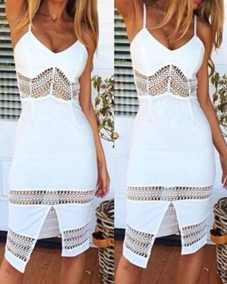 dress white crochet fashion style trendy summer hot zaful