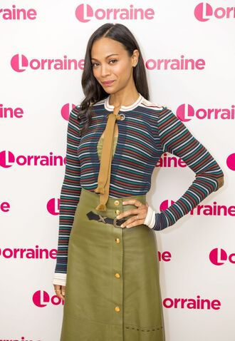 blouse top skirt zoe saldana striped sweater