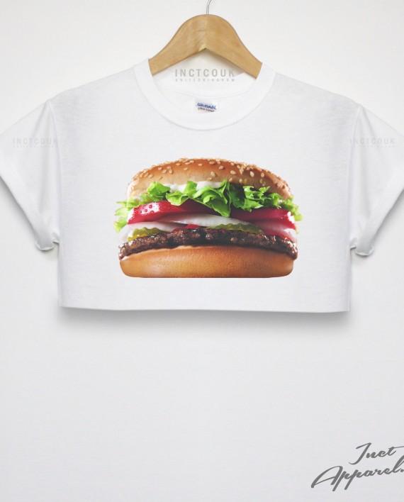 Burger crop top t shirt king streetwear hipster girls women fashion dope good