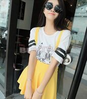 skirt,overall dress,overalls,yellow,kawaii,korean fashion,skirt with suspenders,shirt