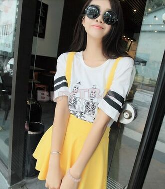 skirt overall dress overalls yellow kawaii korean fashion skirt with suspenders shirt t-shirt white shirt white t-shirt white top monochrome