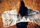 scarf,wings,freedom,free people,black and white,echarpe,feathers