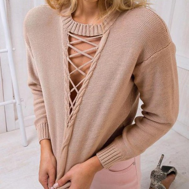 cbbf09ac88 sweater girl girly girly wishlist knit knitwear knitted sweater beige jumper  lace up front lace up