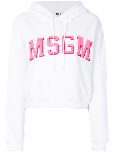 MSGM hoodie women white cotton sweater