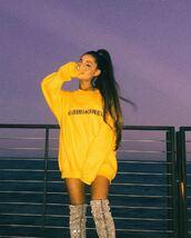sweater,sweatshirt,ariana grande,yellow,instagram