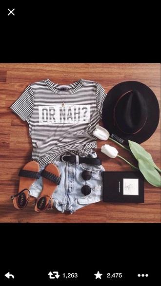 blouse belt shorts shoes hat shirt
