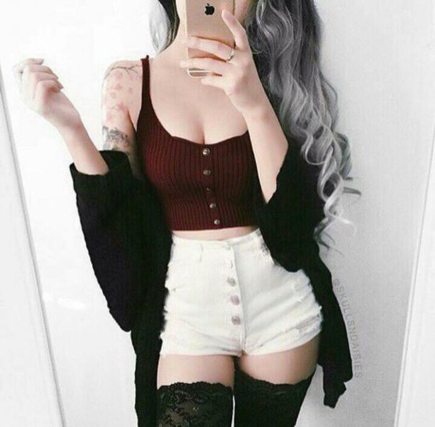 shirt crop tops burgundy top