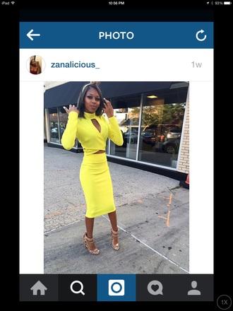 dress yellow midi dress fashion birthday dress cut-out dress bodycon dress black girls killin it yellow dress long sleeves