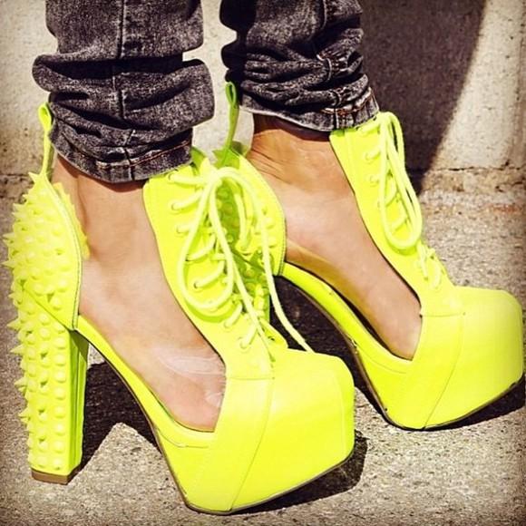 shoes lita spikes heel neon yellow