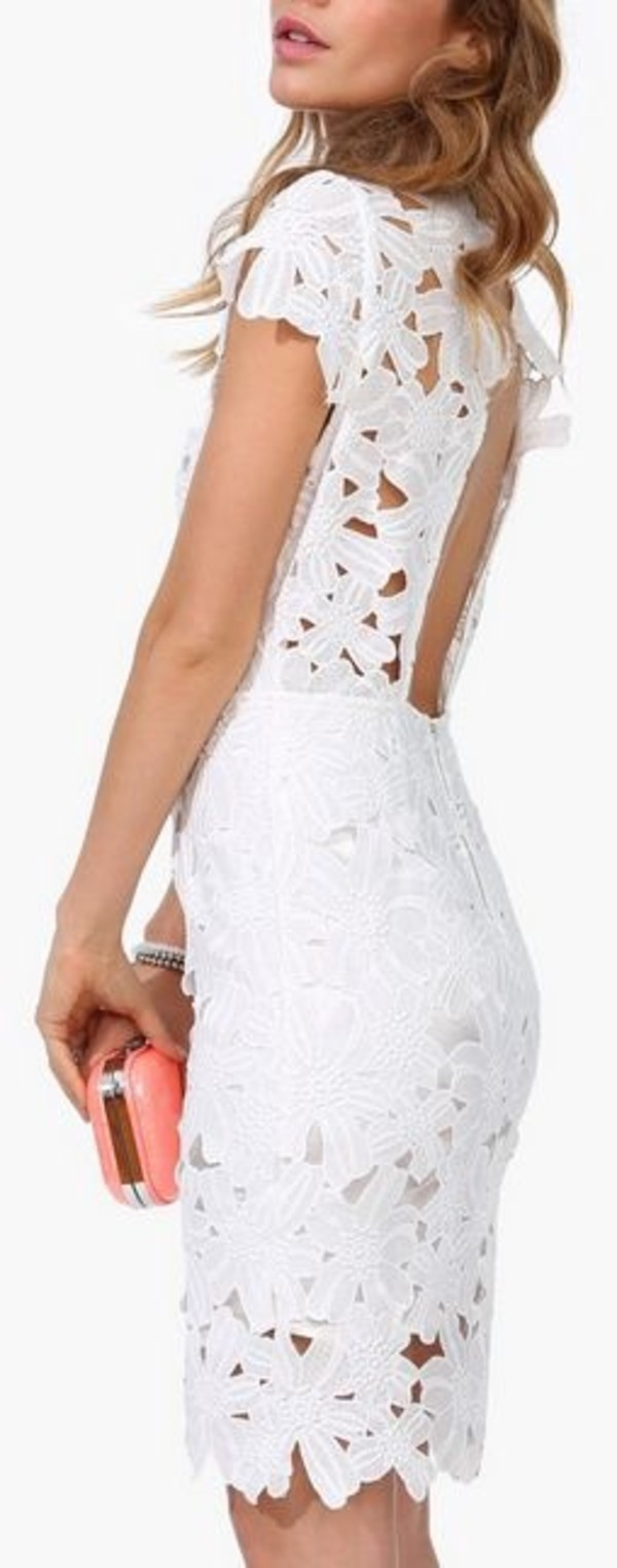 dress white floral overlay