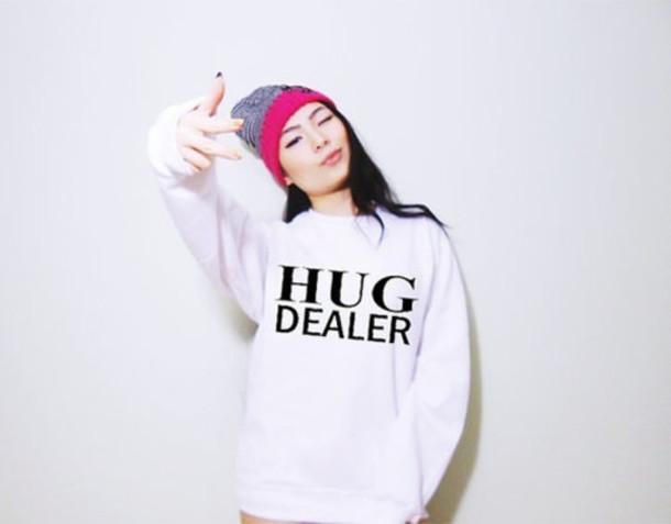 sweater hug oversized sweater white black swag winter swag white sweater pink dealer hug dealer grey edgy