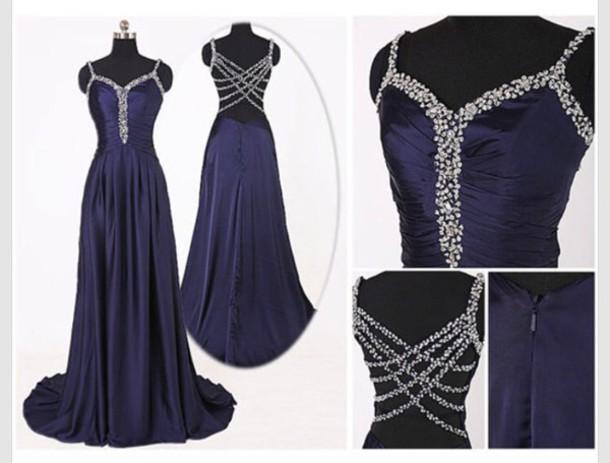 dress gorgeous navy blue prom dress  crossing beadedback