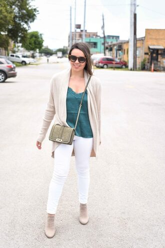 adoredbyalex blogger cardigan tank top shoes sunglasses jewels bag crossbody bag white pants ankle boots fall outfits pants