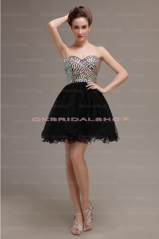 Black prom dress, short prom dress, mini prom dress, sweetheart prom dress, homecoming dress, little black dress