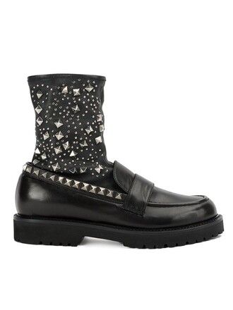 studded women boots ankle boots leather black shoes
