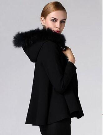 black coat www.ustrendy.com hooded coat cropped coat fur trim hood faux fur trim front button coat swing coat cloak coat hooded cloak