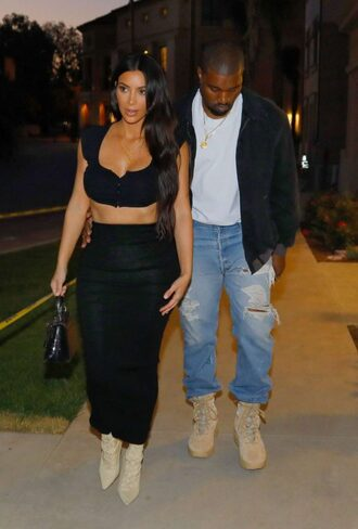 skirt top crop tops kim kardashian boots kardashians high waisted maxi skirt