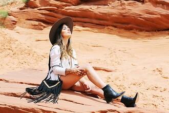 dulceida blogger hat blouse boho bag suede bag ankle boots boho shirt boho