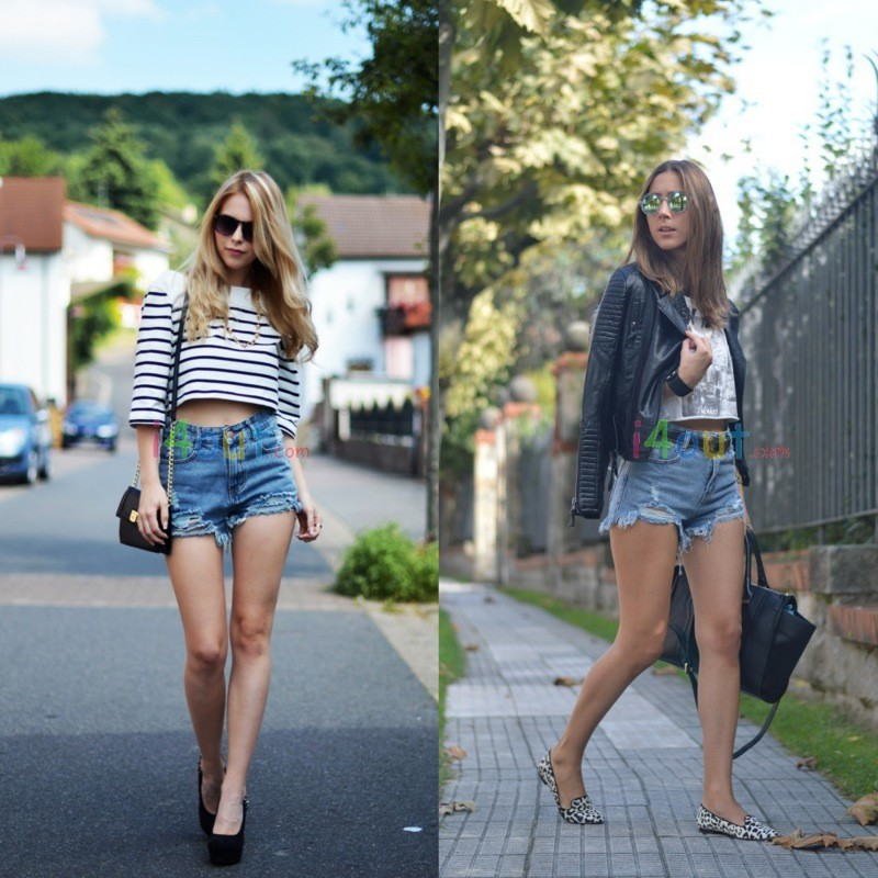 Women Mid Waisted Frayed Destroyed Denim Ripped Jeans Shorts Pants | eBay