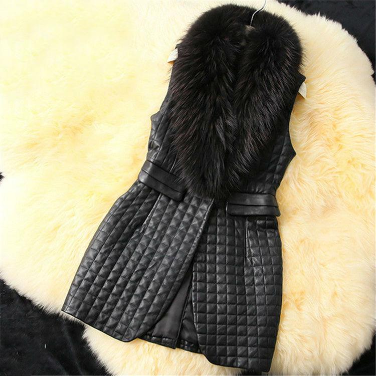 Aliexpress.com : Buy Free Shipping 2014 fashion imitation fur collar sleeveless jacket.vest raccoon fur sheepskin vest faux vest outerwear on ED FASHION.
