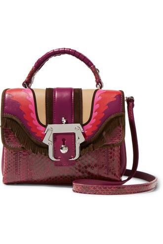 mini bag shoulder bag leather suede burgundy plum