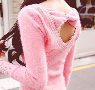 sweater pink bows fuzzy sweater