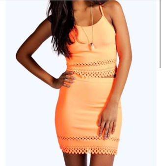 skirt orange top belly top lace sleeveless two piece dress set orange dress short