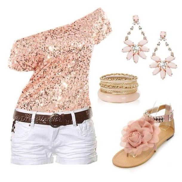 shirt glittered pink side shoulder shirt