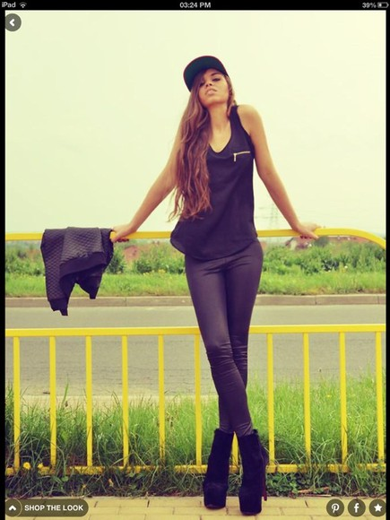 jeans black top black leather black jeans top snapback tank top jacket