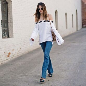 top white wide sleeve storets off the shoulder
