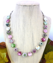 jewels,spring necklace,spring jewelry,spring collection,spring bling,flower embellished,siggy jewelry,spring wedding,bridal,pastel necklace,swarovski,statement necklace,swarovski necklace,12mm swarovski crystals,rivoli necklace,pink,green,light pink,peridot,designer jewelry,gifts for her,anniversary necklace