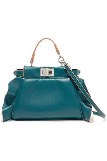 ruffle bag shoulder bag leather petrol