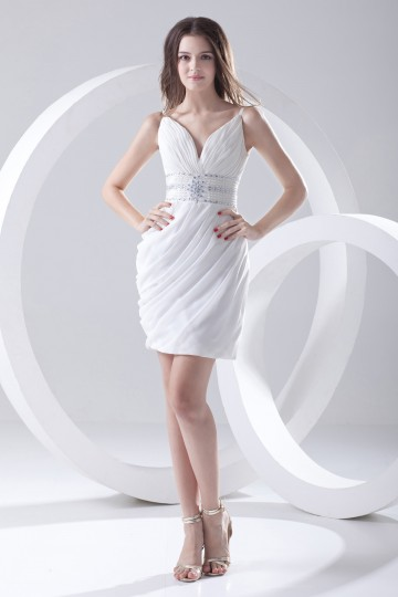 Column White Short V-neck Sleeveless Pleats Garden Wedding gown [ZHY238]- US$ 160.99 - PersunMall.com