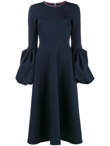Roksanda dress women midi spandex blue silk