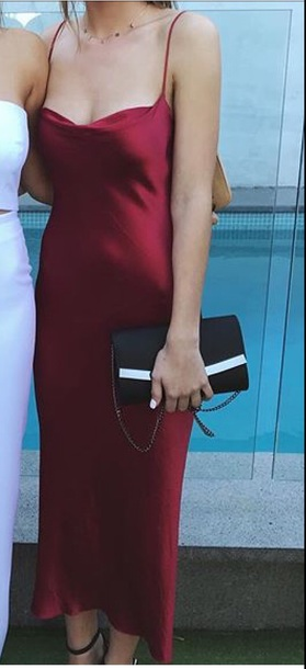 dress red satin long slip dress