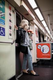 blondecollective,blogger,top,bag,jeans,shoes,loafers,black leather jacket,black bag,spring outfits