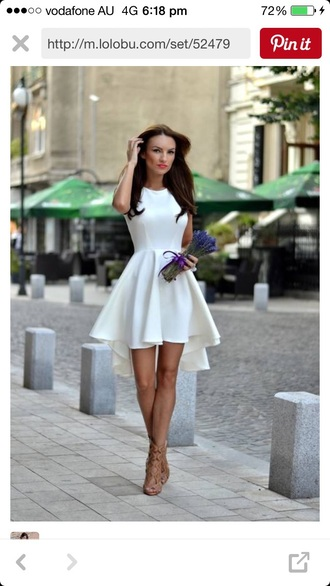 dress white dress skater dress summer dress white cute dress fit and flare dress high low dress short dress white short dress classy elegant stylish summer asymmetrical fashion style girly dress code fashion party dress