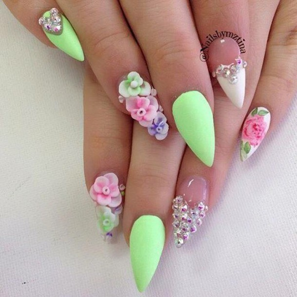 Nail Polish, Green, Nail Accessories, Floral, Nails, Nail
